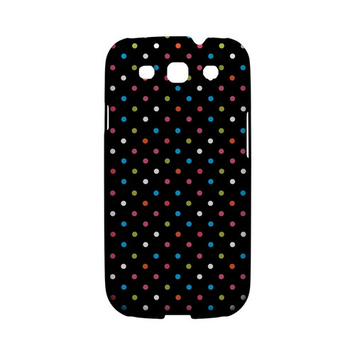 Retro Rainbow Dots on Black Geeks Designer Line Polka Dot Series Matte Hard Case for Samsung Galaxy S3