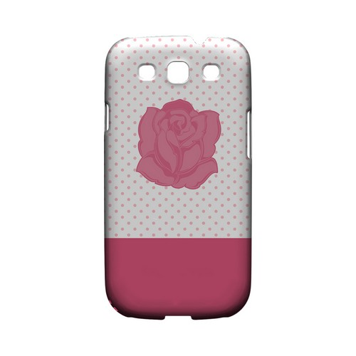 Pink Rose on White Geeks Designer Line Polka Dot Series Matte Hard Case for Samsung Galaxy S3