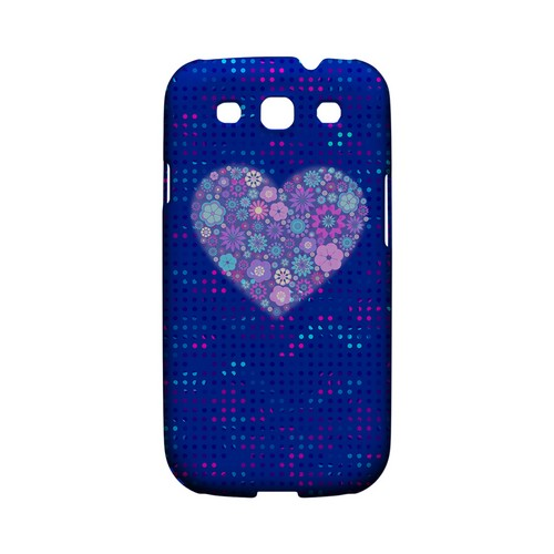 Shimmer Blue Dots & Heart Geeks Designer Line Polka Dot Series Matte Hard Case for Samsung Galaxy S3