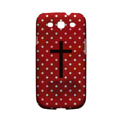 Stained Cross on Red Geeks Designer Line Polka Dot Series Matte Hard Case for Samsung Galaxy S3