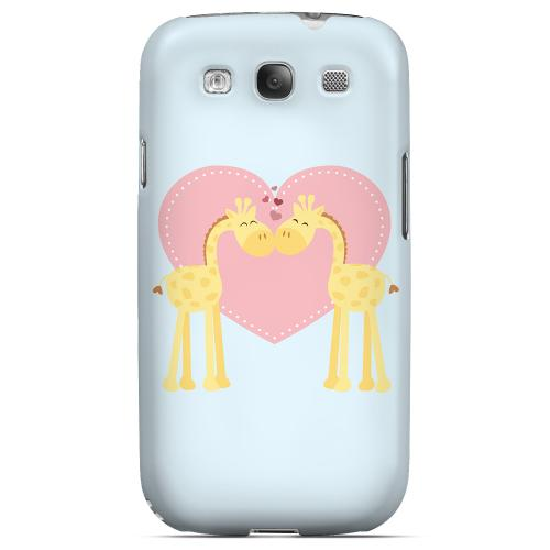 Giraffe Love on Baby Blue Geeks Designer Line Heart Series Matte Hard Case for Samsung Galaxy S3