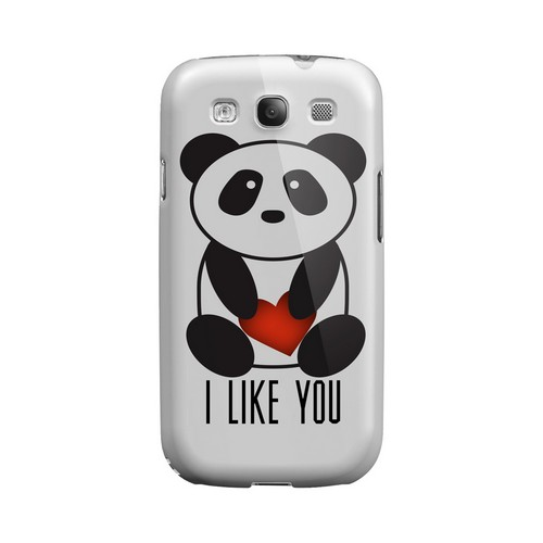 I Like You Panda Geeks Designer Line Heart Series Matte Hard Case for Samsung Galaxy S3