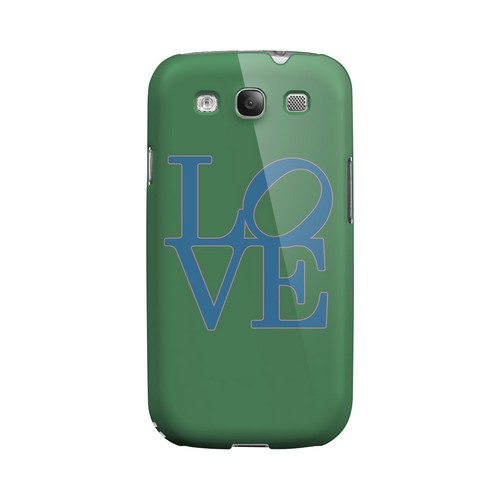 Blue Love on Green Geeks Designer Line Heart Series Matte Hard Case for Samsung Galaxy S3