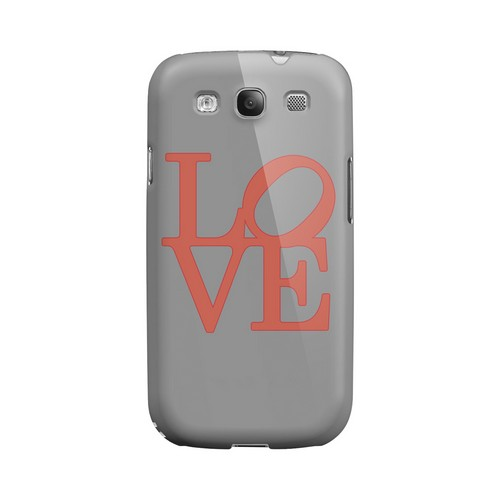 Pink Love on Gray Geeks Designer Line Heart Series Matte Hard Case for Samsung Galaxy S3