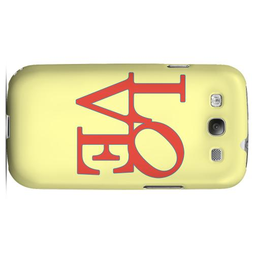 Red Love on Yellow Geeks Designer Line Heart Series Matte Hard Case for Samsung Galaxy S3