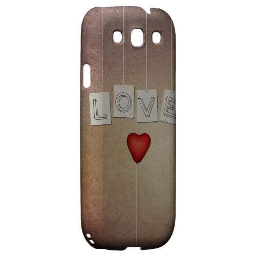 Love & Heart Balloon Geeks Designer Line Heart Series Matte Hard Case for Samsung Galaxy S3
