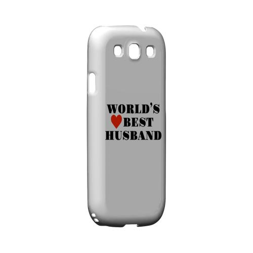 World's Best Husband Geeks Designer Line Heart Series Matte Hard Case for Samsung Galaxy S3