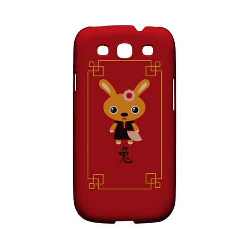 Chibi Rabbit Geeks Designer Line Chinese Horoscope Series Matte Hard Case for Samsung Galaxy S3