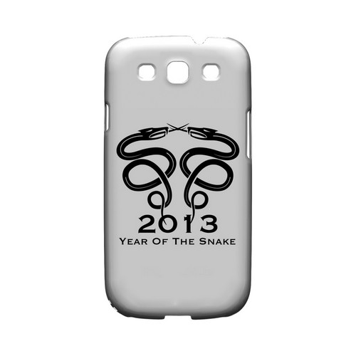 Dual Snake on White Geeks Designer Line Chinese Horoscope Series Matte Hard Case for Samsung Galaxy S3