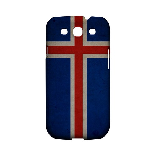 Grunge Iceland Geeks Designer Line Flag Series Matte Hard Case for Samsung Galaxy S3
