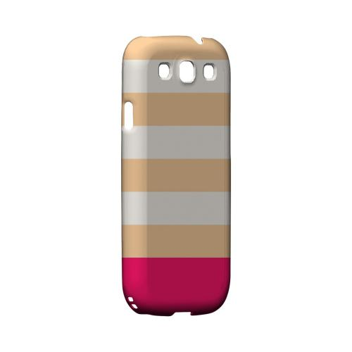 Pink Candy Stripes w/ Pink Bar - Geeks Designer Line Stripe Series Matte Case for Samsung Galaxy S3