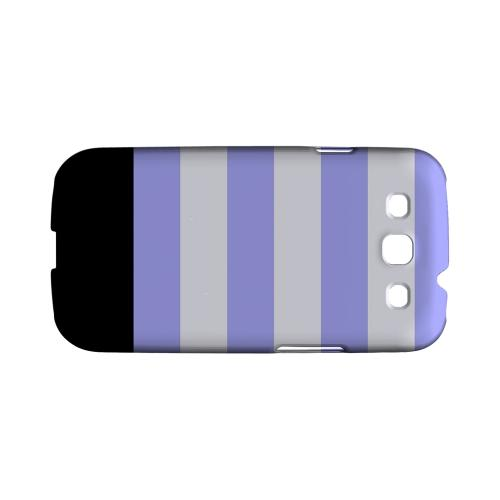 Purple Candy Stripes w/ Black Bar - Geeks Designer Line Stripe Series Matte Case for Samsung Galaxy S3
