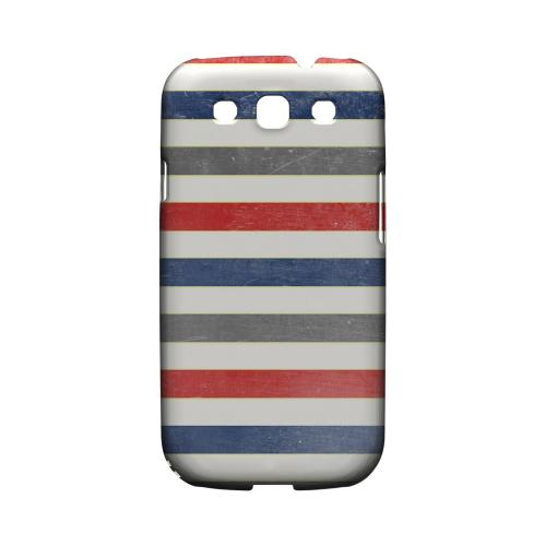Stripey Blue/ Red - Geeks Designer Line Stripe Series Matte Case for Samsung Galaxy S3