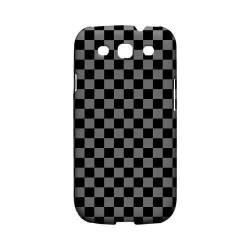 Gray/ Black - Geeks Designer Line Checker Series Matte Case for Samsung Galaxy S3