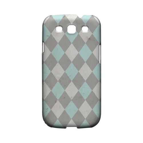 Grunge Pink/ Blue/ Gray Argyle - Geeks Designer Line Checker Series Matte Case for Samsung Galaxy S3