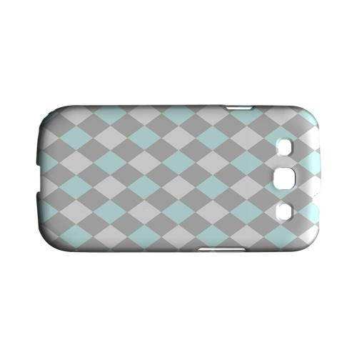 Pink/ Blue/ Gray Argyle - Geeks Designer Line Checker Series Matte Case for Samsung Galaxy S3