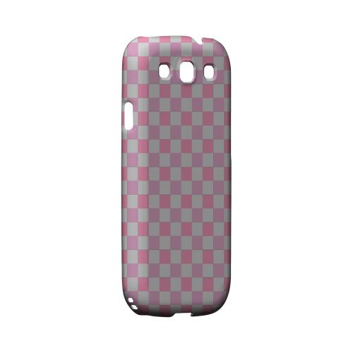 Pinkish - Geeks Designer Line Checker Series Matte Case for Samsung Galaxy S3