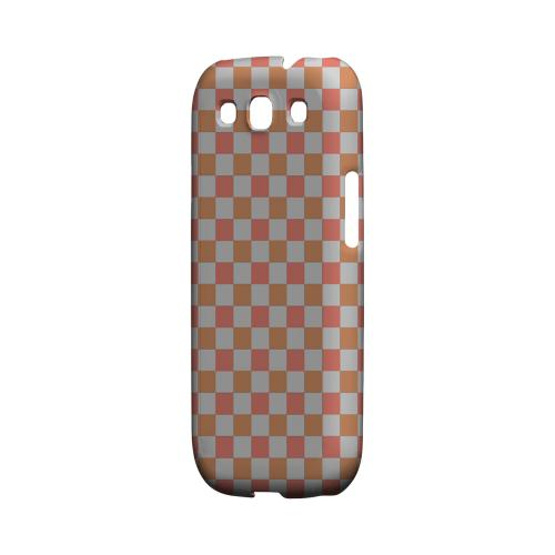 Pink/ Peach - Geeks Designer Line Checker Series Matte Case for Samsung Galaxy S3