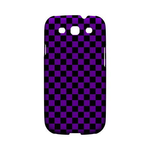 Purple/ Black - Geeks Designer Line Checker Series Matte Case for Samsung Galaxy S3