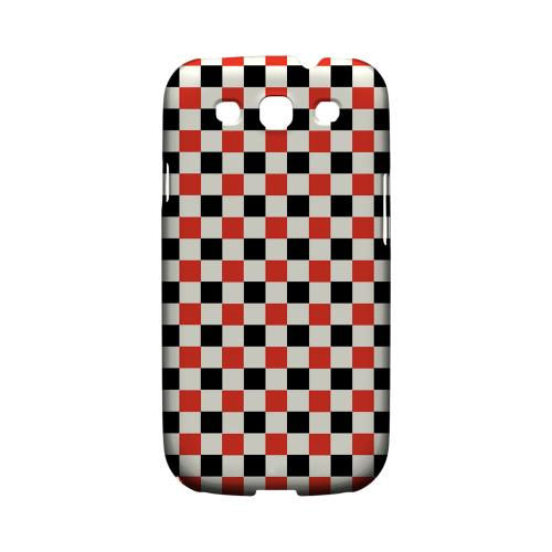 Red/ Black on Cream - Geeks Designer Line Checker Series Matte Case for Samsung Galaxy S3
