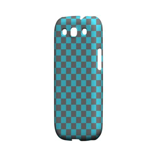 Teal/ Gray - Geeks Designer Line Checker Series Matte Case for Samsung Galaxy S3