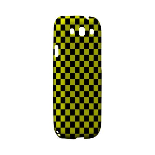 Yellow/ Black - Geeks Designer Line Checker Series Matte Case for Samsung Galaxy S3