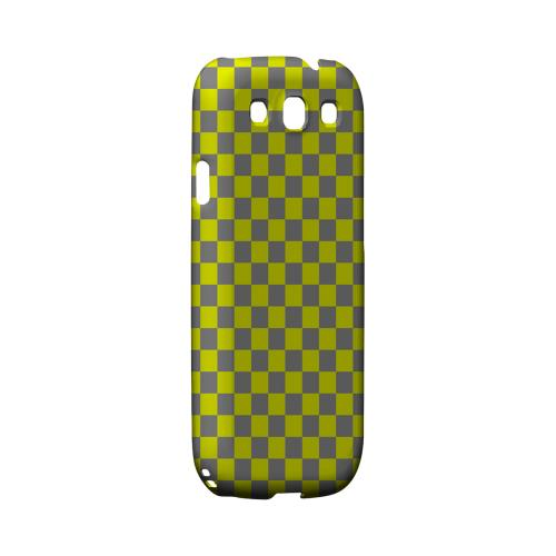 Yellow/ Gray - Geeks Designer Line Checker Series Matte Case for Samsung Galaxy S3