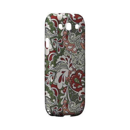 Green/ Red/ Pink Paisley - Geeks Designer Line Floral Series Matte Case for Samsung Galaxy S3