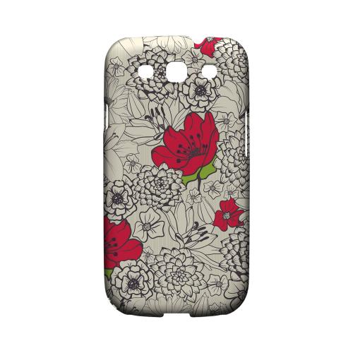 Flower Outline Red Accent - Geeks Designer Line Floral Series Matte Case for Samsung Galaxy S3