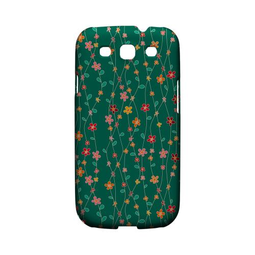 Flowers & Vines on Green - Geeks Designer Line Floral Series Matte Case for Samsung Galaxy S3