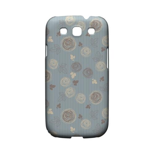 Leaves Scribble Blue/ Brown - Geeks Designer Line Floral Series Matte Case for Samsung Galaxy S3