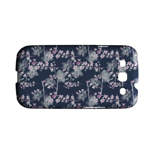 Pink/ White Floral on Blue - Geeks Designer Line Floral Series Matte Case for Samsung Galaxy S3