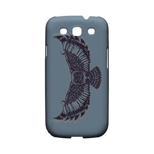 Flying Owl Blue/ Gray - Geeks Designer Line Tattoo Series Matte Case for Samsung Galaxy S3