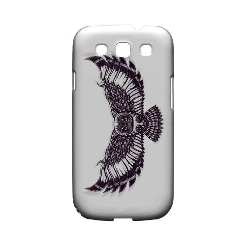 Flying Owl on White - Geeks Designer Line Tattoo Series Matte Case for Samsung Galaxy S3