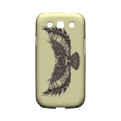Flying Owl on Yellow - Geeks Designer Line Tattoo Series Matte Case for Samsung Galaxy S3