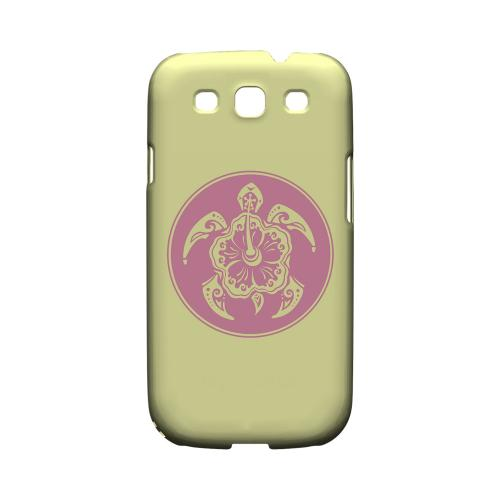 Pink Island Turtle Solo on Yellow - Geeks Designer Line Tattoo Series Matte Case for Samsung Galaxy S3