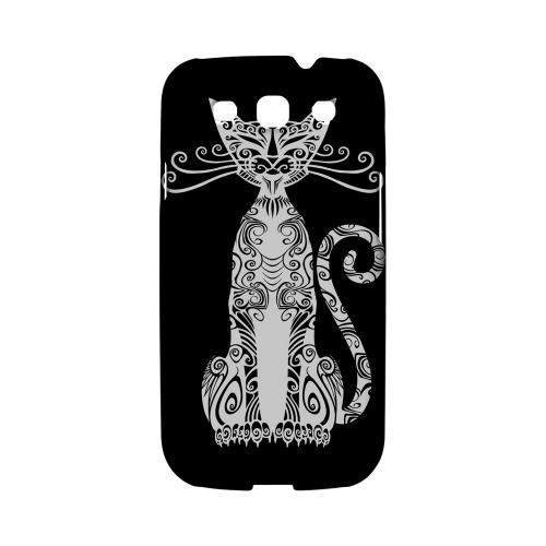 Kitty Nouveau on Black - Geeks Designer Line Tattoo Series Hard Case for Samsung Galaxy S3