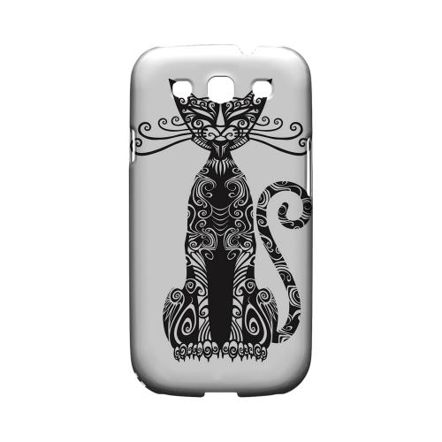 Kitty Nouveau on White - Geeks Designer Line Tattoo Series Hard Case for Samsung Galaxy S3