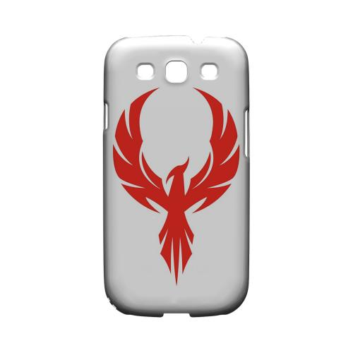 Phoenix Red on White - Geeks Designer Line Tattoo Series Hard Case for Samsung Galaxy S3