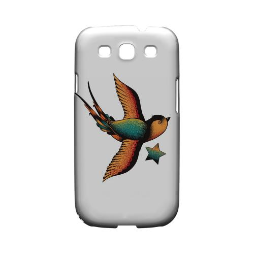 Swallow Star on White - Geeks Designer Line Tattoo Series Hard Case for Samsung Galaxy S3