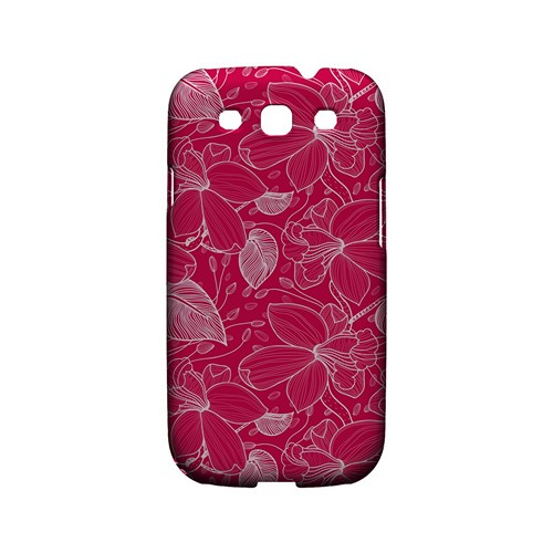 White on Pink Orchid Lines - Geeks Designer Line Floral Series Matte Case for Samsung Galaxy S3