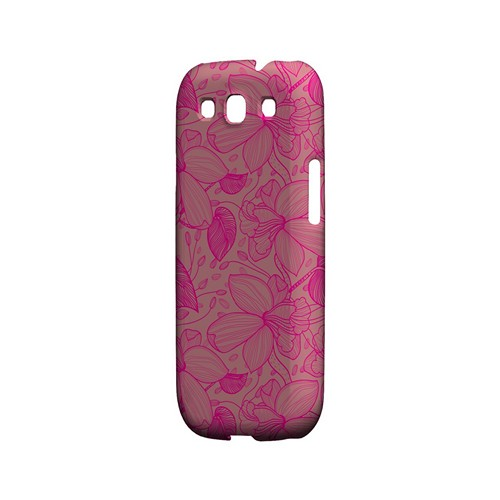 Pink on Pink Orchid Lines - Geeks Designer Line Floral Series Matte Case for Samsung Galaxy S3