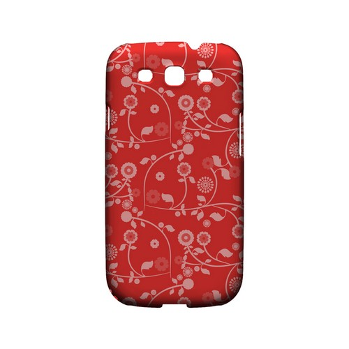 Floral 2 Poppy Red - Geeks Designer Line Pantone Color Series Matte Case for Samsung Galaxy S3