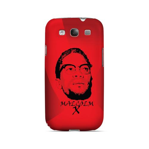 Malcolm X in the Middle on Red - Geeks Designer Line Revolutionary Series Matte Case for Samsung Galaxy S3