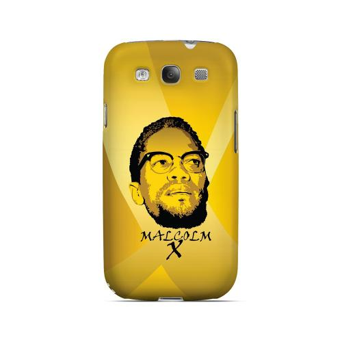 Malcolm X in the Middle on Yellow - Geeks Designer Line Revolutionary Series Matte Case for Samsung Galaxy S3