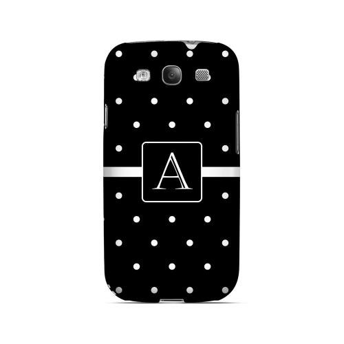 A on Classic Mini Polka Dots - Geeks Designer Line Monogram Series Matte Case for Samsung Galaxy S3