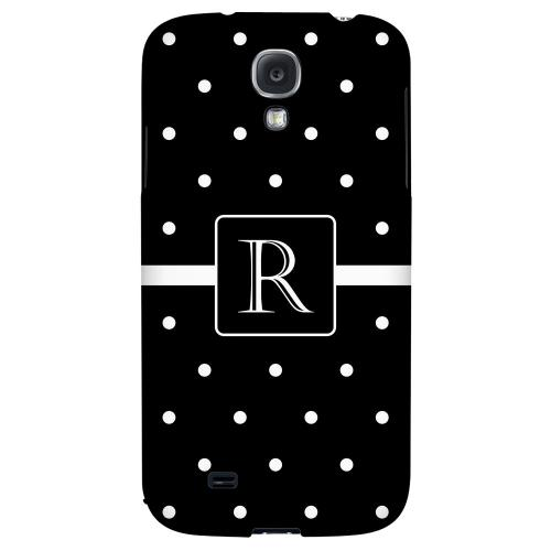 Monogram R on Classic Mini Polka Dots - Geeks Designer Line Monogram Series Hard Back Case for Samsung Galaxy S4