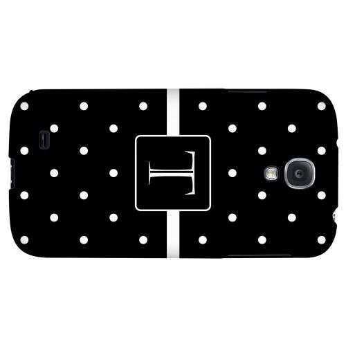 Monogram T on Classic Mini Polka Dots - Geeks Designer Line Monogram Series Hard Back Case for Samsung Galaxy S4