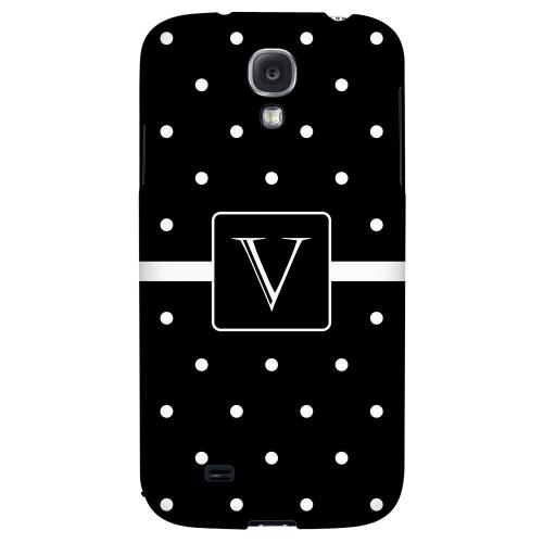 Monogram V on Classic Mini Polka Dots - Geeks Designer Line Monogram Series Hard Back Case for Samsung Galaxy S4