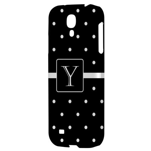 Monogram Y on Classic Mini Polka Dots - Geeks Designer Line Monogram Series Hard Back Case for Samsung Galaxy S4